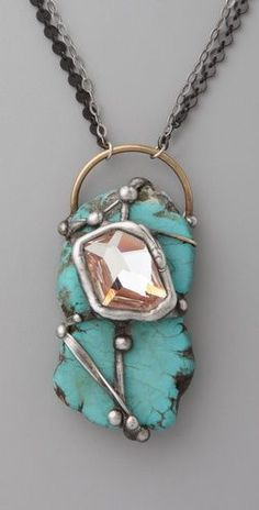 Wrapped Turquoise Pendant Necklace