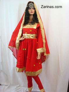 Zarinas.Com: Afghan Dress (Layla and Majnun) - Mozhdah -  This ritzy three piece Afghan dress is appropriate for all types of Afghan weddings, parties, and any other special occasions. This beautiful dress comes with matching pants and matching chador (head scarf).