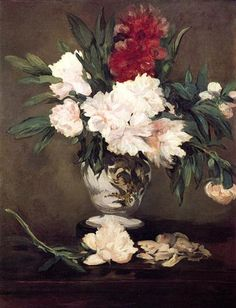 Vase of Peonies on a Small Pedestal - Edouard Manet