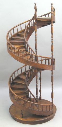 Great A Large Scale Edwardian Mahogany Architectural Model Of A Staircase |  Architectural Models And Staircases