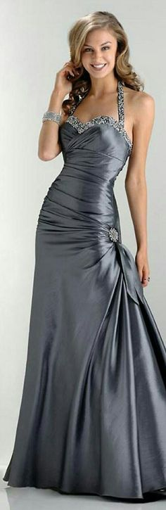 FLIRT ▪ In Steel Grey Hourglass-Style Funnel Skirt w. Horizontal Wrap Across the Bodice w. Brooch on L. Hip w. Two Ribbon, Sweetheart Beading at Chest & Shoulder Straps ▪ #FL-4372. // WEPROMDRESS.COM ▪ #SD0007.