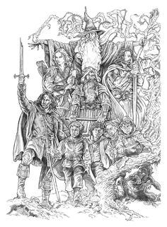 "lthe company(bw) by NachoCastro.deviantart.com on @deviantART - The Fellowship (plus Gollum) from ""Lord of the Rings"""