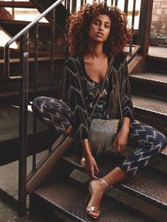 Imaan Hammaam Pose for Topshop holiday 2015 campaign Photoshoot