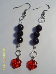 aretes #3306   valor $3000 Drop Earrings, Red, Black, Jewelry, Fashion, Stud Earrings, Accessories, Moda, Jewlery