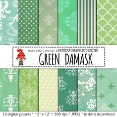 "New to SandraGraphicDesign on Etsy: Digital paper: ""GREEN DAMASK"" with various damask pattern background paper in the color green (1014) (3.75 USD)"