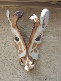 Recycled Palm Frond Giraffe Mask Wall Art by jesszoo on Etsy, $45.00