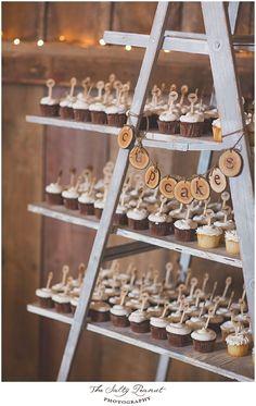 Lovely cupcake display on a ladder #wedding #weddingcupcakes #cupcakes #rustic #diywedding