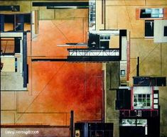 architectural collage work done by Ginny ArchHerzogHerzog is a combination of watercolor and  photography infused with her lifelong interest in the elements of geometric design found in architectural drawings.