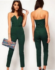 Casual Dresses new fashion 2014 winter dress women Clothing green sexy slim elegant women's bust bodysuit  Jumpsuits & Rompers