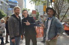 Tom Hiddleston and Chris Hemsworth strike the 'Bro' pose on the set of Thor: Ragnarok in Australia.