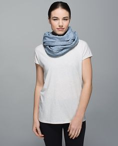 Vinyasa Scarf - mini check pique caspian blue heathered inkwell