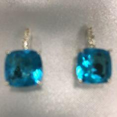 City Rox cubic Zirconia Silver-tone stud earrings Turquoise studded earrings City Rox Jewelry Earrings