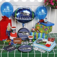 NFL Seattle Seahawks Birthday Party Kit (96-Piece) by TNT. Save 22 Off!. $31.35. 8 plates, 16 napkins. 96 piece party kit. 24 plastic forks and 24 latex balloons. cake decorating kit. Perfect for that biggest fan's birthday party. From invitations to decorations, the NFL ultimate party pack has everything you need for a football-themed celebration! The 96-piece set includes basic necessities, like plates, napkins and forks, as well as balloons and a cake-decorating kit- 96-piece part...