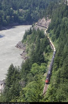 CN Canadian National Railway GE at Hells Gate, British Columbia, Canada by Michael R. Canadian National Railway, British Columbia, Gate, Canada, Train, River, Outdoor, Trains, Outdoors