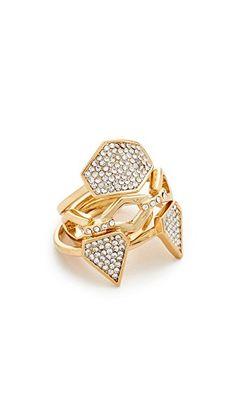 ¡Consigue este tipo de anillo de Luv AJ ahora! Haz clic para ver los detalles. Envíos gratis a toda España. Luv Aj The Pave Shield Ring Set: A set of 4 stackable Luv Aj rings encrusted with sparkling Swarovski crystals. Gold plate. Imported, China. (anillo, anilla, anillas, anillo, sortija, sortijas, ring, rings, ring, anillo, bague, anello, anillos)