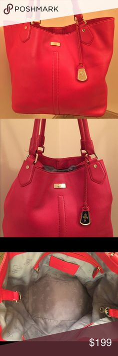 Cole Haan Pebble Grain Leather handbag Red Cole Haan pebble grain leather tote Bag  Brass hardware  Gray interior lining  Attached key fob Leather covered magnetic closure  Interior center clasp to change bag to bucket style. Only carried a handful of times Cole Haan Bags Totes