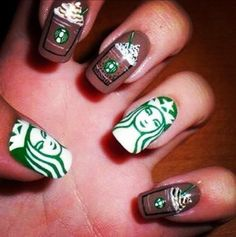 Starbucks nails 17 Incredibly Detailed Nail Art Designs That Nailed It - Calling all white girls! Diy Nails, Cute Nails, Manicure, Nail Polishes, Best Acrylic Nails, Acrylic Nail Designs, Stylish Nails, Trendy Nails, Starbucks Nails