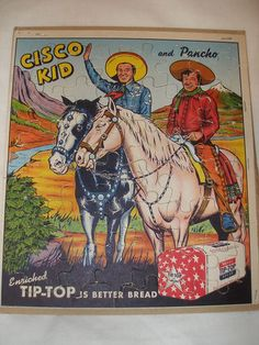1953 Cisco Kid and Pancho Tip Top Bread Premium Puzzle 1950's Western | eBay