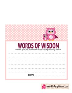 Words of Wisdom Cards for Owl Baby Shower in Pink Color