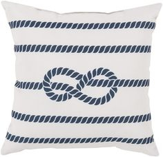 Odysseus Pillow in Ivory and Navy Rope Design - The Beach Bungalow
