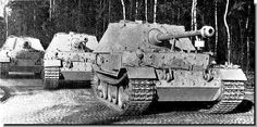 German tanks: Elefant. These are newly produced Ferdinands at Nibelungenwerke in Austria where they were assembled. Note that they have no gun shields. This did not occur with all Ferdinands, and the ones that didn't have them were retro-fitted, so these guns are probably early in the production.