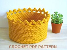PDF Pattern, Crochet Basket Pattern, Crochet Crown Edge Basket, Crochet Bowl Pattern, Instant Download