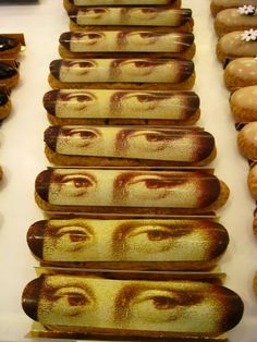 Mona Lisa is watching you...from the top of your eclair! [Photo by Ritournelle, at Fauchon, in Paris.]