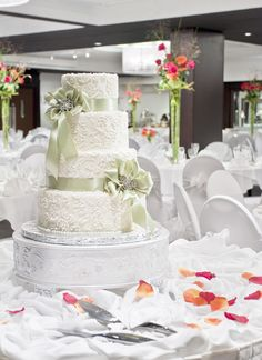 Beautifully chic, the cake adds another pretty element to an already gorgeous room at Weber's.