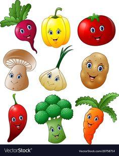 Cartoon vegetables collection set vector image on VectorStock Art For Kids, Crafts For Kids, Arts And Crafts, Paper Crafts, Vegetable Cartoon, Cartoon Vegetables, Vegetable Crafts, Fruit Cartoon, Fruit And Veg