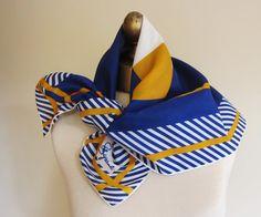 Schiaparelli scarf 70s navy mustard bold by foulardfantastique, $22.00