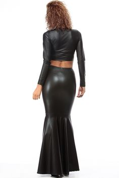 Black Faux Leather Mermaid Maxi Skirt @ Cicihot sexy dresses,sexy dress,prom dress,summer dress,spring dress,prom gowns,teens dresses,sexy party wear,ball dresses