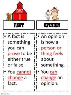 Farmhouse Fact or Opinion Freebie -- for lower grades but great definition and examples
