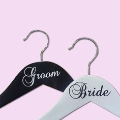 Bride & Groom Vinyl Hangers to add a special touch to your wedding attire. Shop now for these and other custom hangers. Wedding Cape, Wedding Attire, Wedding Hangers, Wedding Accessories, Bride Groom, Dress Wedding, Wedding Mantle, Bridal Hangers