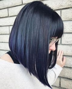 Hair with bangs 20 Modern Ways to Style a Long Bob with Bangs Black Straight Angled Bob With Bangs Long Bob Haircut With Bangs, Bob Hairstyles With Bangs, Long Bob Haircuts, Lob With Bangs, A Line Bob With Bangs, Lob Bangs, Celebrity Hairstyles, Medium Bob With Bangs, Haircut Bangs