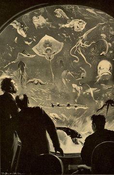 Jules Verne Illustrations | Zdenek Burian, Illustration for Jules Verne's '20,000 Leagues Under ...