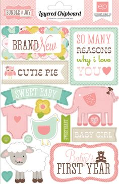 Echo Park - Bundle of Joy Collection - Girl - Layered Chipboard Stickers