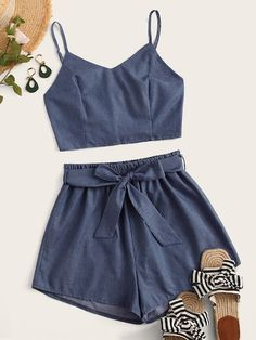 Two piece outfit - Plus Shirred Cami Top With Belted Shorts – Two piece outfit Girls Fashion Clothes, Teen Fashion Outfits, Look Fashion, Girl Outfits, Clothes For Women, Fashion Black, Fashion Styles, Fashion Ideas, Fashion Trends