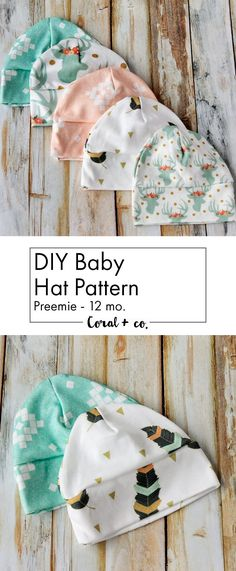 I am so loving all the sewing for baby cuteness, so I made one more free  pattern for you!  An adorbs  Baby Hat Sewing Pattern!  It comes in sizes  preemie through 12 months so it is perfect for infants and big babies.   This cute little baby cap is made out of soft knit fabric and comes with a  fitted top and a cuff that can be rolled up for more cuteness!  As you can  see I had a lot of fun making them in a ton of different fabrics (all from  spoonflower) and can coordinate with the Knot…
