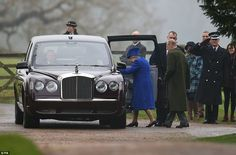 The monarch and the Duke of Edinburgh left by car after attending the 11am service at St M...