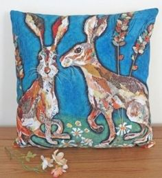 All Ears Hare Cushion by Dawn Maciocia . . Sold by TartanPlusTweed.com A family owned kilt and gift shop in the Scottish Borders