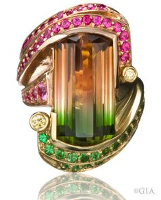 The bi-color tourmaline in this ring is surrounded by tsavorite garnets and pink sapphires with two diamond accents. Courtesy Jeffrey Appling. GIA (100614)