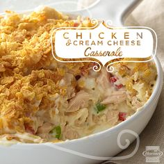 Easy to prep and serve one dish meals can add a little calm to busy weeknights. This Chicken & Cream Cheese Casserole is creamy on the inside, crunchy on top and a family favorite. #onepotmeals