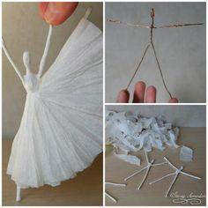 bailarina en cartapesta y alambre