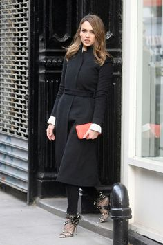Jessica Alba wearing J Brand 811 Skinny Leg Jeans in Dare and Valentino Timestring Studded Booties.