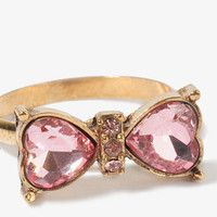Rhinestoned Heart Bow Ring | FOREVER 21  | i love it, it is fab