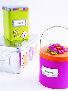 Creative Gift Containers        Brightly painted metal containers have magnetic appeal for attention-grabbing letters and symbols.