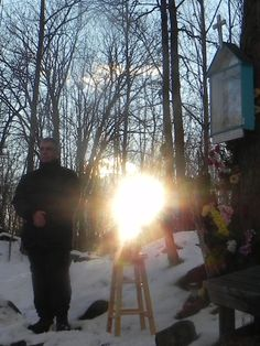 """""""Miracle! The burned statue of Blessed Mother is 'clothed' with the sun"""" in Marmora, at 14 Stn. by AK"""