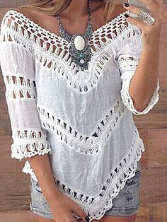 Pure White Hollow Loose V Neck Off Shoulder Top & Denim Shorts