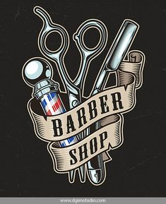 Designs for Barbershops Old school style colorful Barber Shop emblem with scissors, a blade, a barber pole and ribbon around them. Barber Shop Pole, Best Barber Shop, Barber Shop Decor, Barber Shop Vintage, Old School Style, Cover Design, Barber Logo, Straight Razor Shaving, Barbershop Design