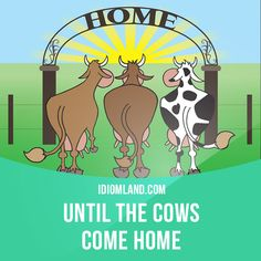 """Until the cows come home"" means ""for a very long time"".  Example: We could talk about this problem until the cows come home, but it wouldn't solve anything."